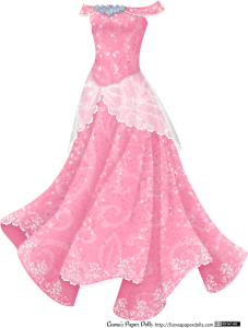 A pink gown with an off-the-shoulder neckline. There are five large opals at the neckline, surrounded by diamonds. The dress has a fitted bodice and a small, semi-transparent white overskirt patterned with rhinestone scrolls and edged with lace. The skirt is full and sparkly and is patterned with a light scroll pattern, and there's a rhinestone pattern on the hem.