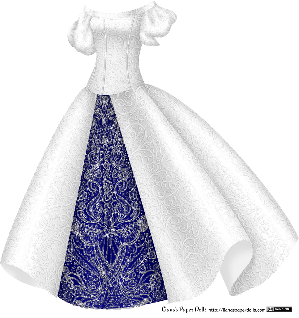 A silvery white gown with a delicate, small scroll pattern all over. The dress is off the shoulder and has large puffed sleeves over the upper arms. The bodice is tight and the skirt is bell-shaped. It's open in the front to show a dark blue underskirt covered with a pattern of rhinestones.