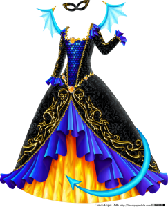A black velvet masquerade gown with a square neckline, long sleeves and a large, bell-shaped skirt. At the neckline is a gold band in a stylized flame pattern, with a large fire opal surrounded by rhinestones set in the middle. The sleeves have blue ruffles at the shoulders and at the wrists, with iridescent blue-green highlights and shades of purple in the shaded areas. There's a bit of golden lace above each ruffle. A pattern of golden scrolls runs down the length of the sleeve. The bodice has a long, triangle-shaped area from the neckline to the waist patterned with shiny blue and purple dragon scales and bordered with delicate gold lace. At the waist is a gold band with a stylized flame pattern, set with three fire opals surrounded by rhinestones. The overskirt is open at the front and edged with a blue iridescent ruffle and golden lace. A golden pattern of a stylized dragon breathing flames is on the edge of the skirt. The underskirt appears to be made of fire. There's a light blue tail curling over the edge of the skirt and light blue wings at the shoulders, tipped with golden horns, and there's a small black velvet mask decorated with golden scrolls.