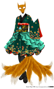 A knee-length teal green dress with a fox mask and nine fox tails fanning out from underneath the skirt. The mask and tails are in a golden brown color with white accents. The dress has Japanese touches, with a subtle rice sheaf pattern woven into the fabric and dyed red, orange and yellow maple leaves arranged on the skirt and on the sleeves, with a couple at the shoulders. On the skirt and sleeves, they look as if they're falling, with a few near the top of the sleeves and skirt and most at the hem or the base. The sleeve isn't sewn at the sides, but is rather tied with a yellow bow underneath the wrist, and the lining of the fabric is bright red. The collar is folded over on one side and is edged with a wide black field, then a smaller white collar near the neck is lined with a row of black lace. There's a black obi with a pattern of golden leaves and abstract flowers, with a red obi sash puffed out over the top. The obi sash is decorated with a pattern of tie-dyed dots creating diamond shapes. Around the obi is a silver cord, on which is mounted a shining blue fire-shaped jewel. Although the top part of the dress mostly looks like a traditional kimono, the skirt is full and knee-length, puffing out to the sides in an exaggerated way, as if there's a crinoline underneath it. There are four rows of sea-green silk with a subtle interlocking circle pattern on them, arranged so that they drape in overlapping ruffles from the obi to the hem of the skirt. They're edged with black lace. The skirt is also edged with black lace, and there's a bright red petticoat visible underneath the skirt. The black stockings and black boots are mostly covered by the fox tails.