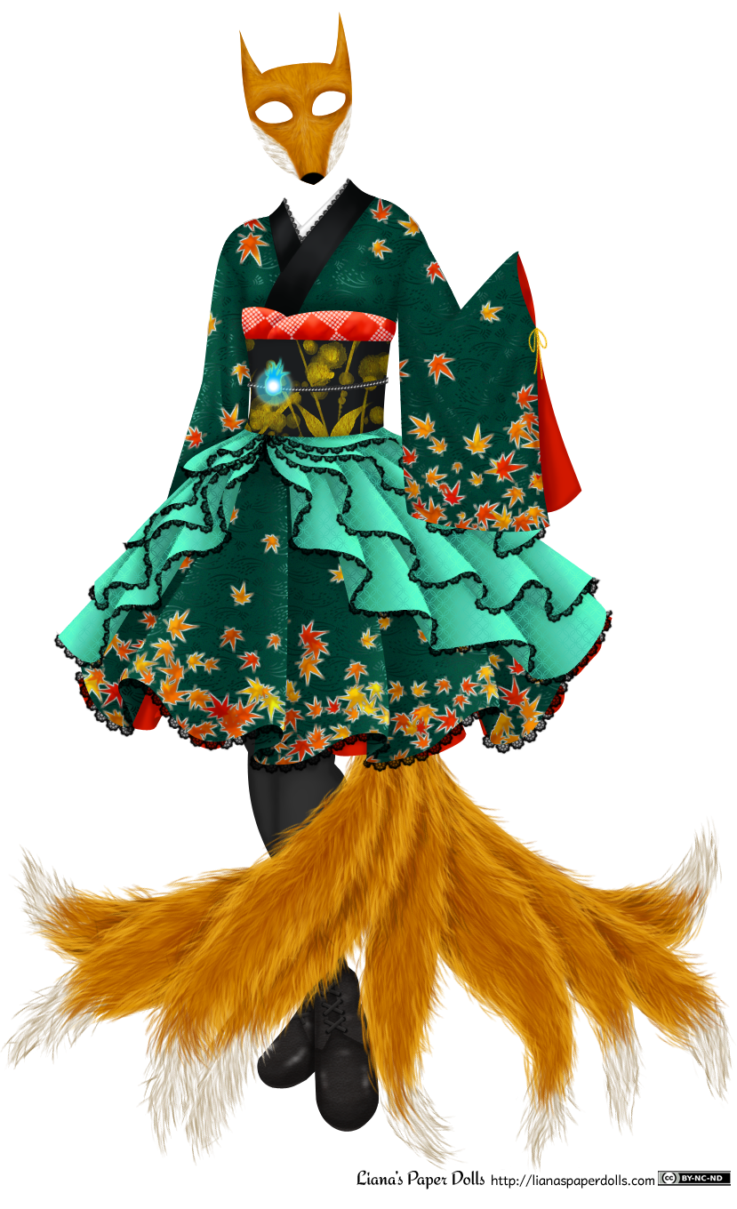 A knee-length teal green dress with a fox mask and nine fox tails fanning out from underneath the skirt. The mask and tails are in a golden brown color with white accents. The dress has Japanese touches, with a subtle rice sheaf pattern woven into the fabric and dyed red, orange and yellow maple leaves arranged on the skirt and on the sleeves, with a couple at the shoulders. On the skirt and sleeves, they look as if they're falling, with a few near the top of the sleeves and skirt and most at the hem or the base. The sleeve isn't sewn at the sides, but is rather tied with a yellow bow underneath the wrist, and the lining of the fabric is bright red. The collar is folded over on one side and is edged with a wide black field, then a smaller white collar near the neck is lined with a row of black lace. There's a black obi, or wide belt, with a pattern of golden leaves and abstract flowers, with a red obi sash puffed out over the top. The obi sash is decorated with a pattern of tie-dyed dots creating diamond shapes. Around the obi is a silver cord, on which is mounted a shining blue fire-shaped jewel. Although the top part of the dress mostly looks like a traditional kimono, the skirt is full and knee-length, puffing out to the sides in an exaggerated way, as if there's a crinoline underneath it. There are four rows of sea-green silk with a subtle interlocking circle pattern on them, arranged so that they drape in overlapping ruffles from the obi to the hem of the skirt. They're edged with black lace. The skirt is also edged with black lace, and there's a bright red petticoat visible underneath the skirt. The black stockings and black boots are mostly covered by the fox tails.