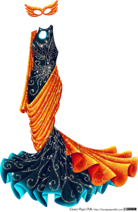 Liana's Paper Dolls: Phoenix's Costume. A dark navy blue gown with a high neckline and no sleeves. There's a circle keyhole cutout under the neckline, and the dress is mermaid-style, tight around the bodice and legs then fanning out near the floor. It's decorated with an abstract phoenix pattern in rhinestones all over the top of the dress and abstract swirls of rhinestones on the skirt. There's a long length of orange, yellow and red fabric patterned with gold swirls draped around the hips and legs, over one shoulder and over the skirt, fanning out like a tail. There's also a red and gold mask with stylized feathers on each side extending far past the head.