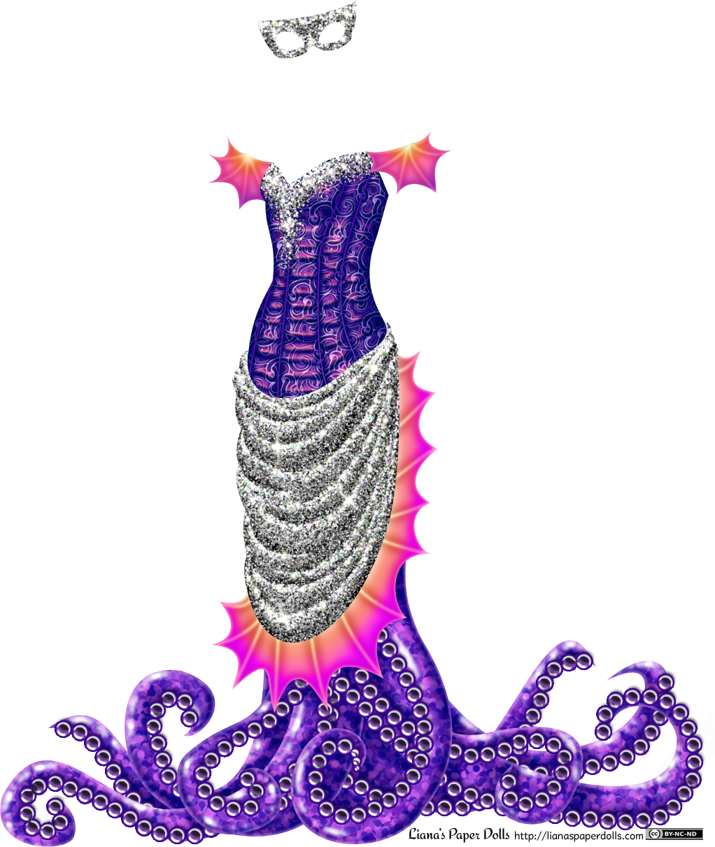 An off-the-shoulder dress with fin-like webbing on the upper arms, a corset top, a tight, sparkly silver skirt edged with more fin-like webbing and several tentacles coming from the skirt and spilling over the floor. The corset is patterned with an abstract tentacle pattern and is a deep purple. It's made of shiny fabric which is nearly pink where the light hits it, and the top of the corset is covered in sparkly silver glitter. The fin-like webbing is done in garish shades of yellow, orange and magenta. The skirt is gathered at the back and drapes over the front from the waist to the knees in graceful folds, and the entire skirt is covered in silver sequins that glitter as they catch the light. The silhouette suggests a late 1800s gown, although the colors, glitter and tentacles don't. There are about ten tentacles, shiny and colored in shades of purple, with large suckers on them. They fall towards the ground, where they spill out and curl around on the floor. There's also a shiny silver mask to go with the outfit.