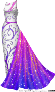 A sleeveless white gown with a boat neck that fits tightly over the legs. There's a pattern all over the gown of large purple and magenta scrolls edged with rhinestones. At the left hip is a length of iridescent trumpet-shaped fabric that falls over the gown to the floor. It's magenta near the top, fading into purple, and is sparkly.