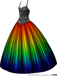 A sleeveless ballgown with a black bodice and a sweetheart neckline. The bodice is covered with rhinestones in varying sizes and patterns. The skirt is floor-length, full and bell-shaped, and the colors on it go in a rainbow pattern, from red near the waist, then orange, yellow, green, blue and purple at the hem. There is a pattern of black lines over the fabric, giving it a dramatic look.
