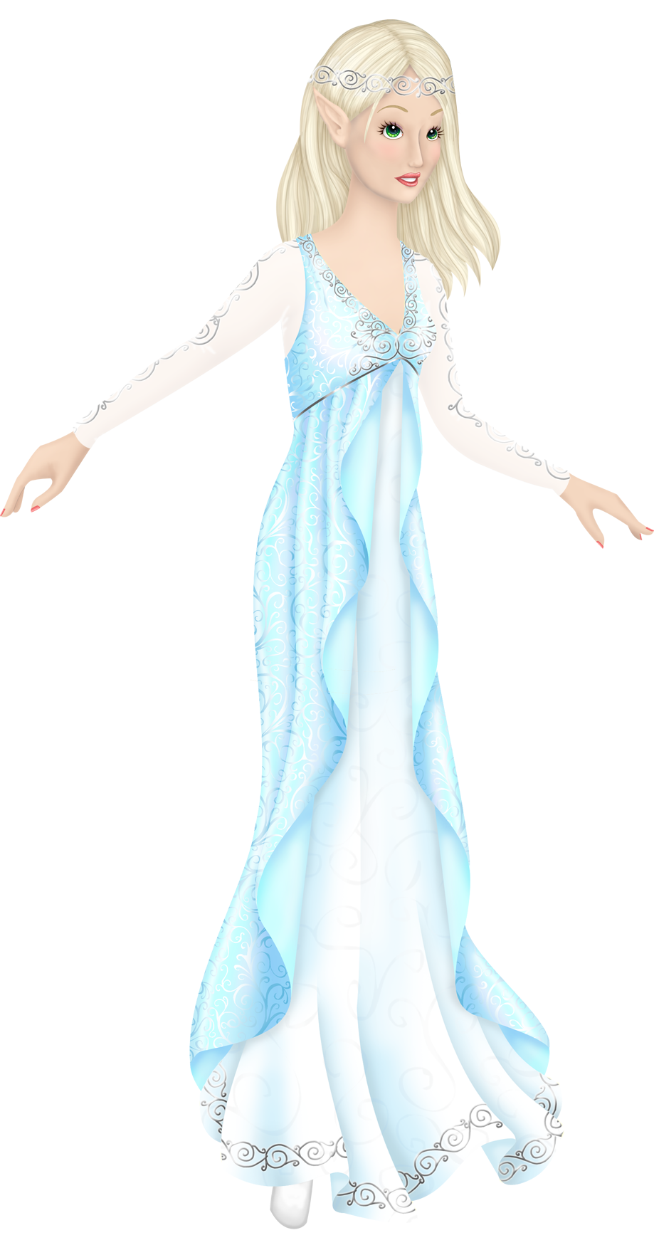 Liana's Paper Dolls Christmas 2014 Aelinora -- download for free until December 28! An adult female elf paper doll with straight blonde hair and green eyes. She's wearing a light blue dress with a V neck and an empire waist. The sleeves are long and semi-transparent, with silver designs up and down the arms, and the overskirt is open in the front, showing a light blue underskirt bordered with silver scrolls.