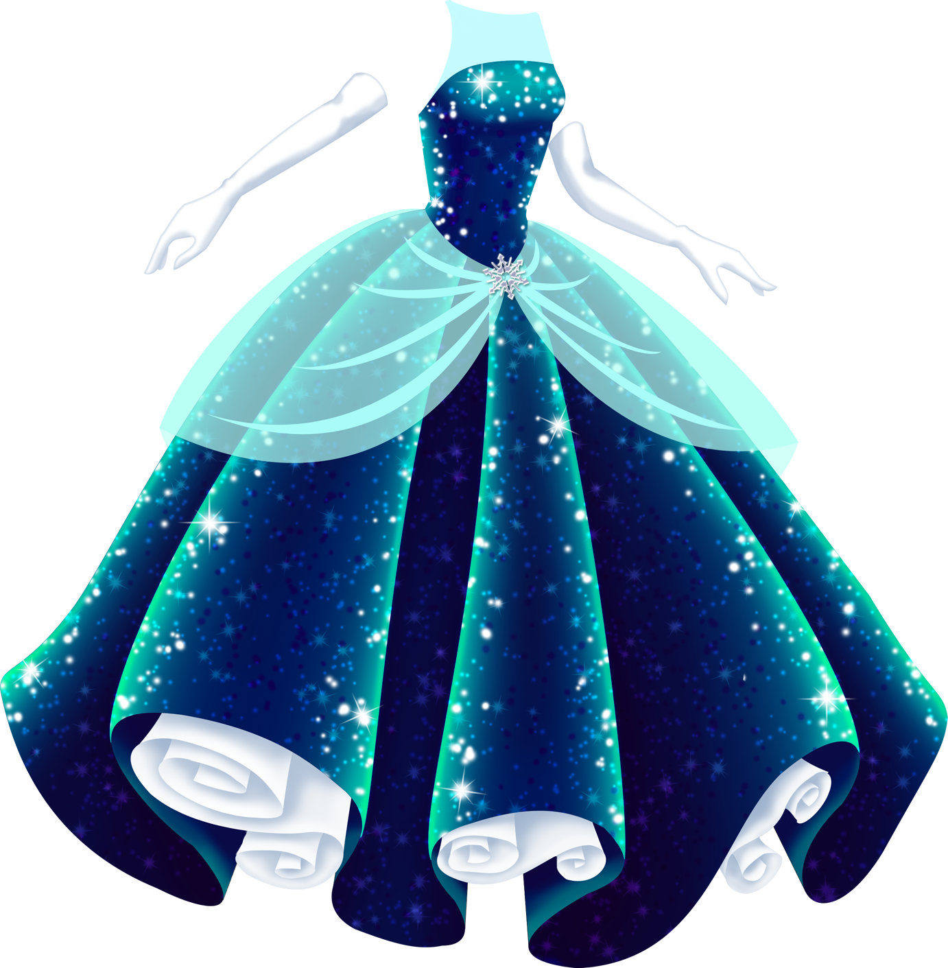 A deep blue ballgown with a full, bell-shaped skirt and a strapless bodice. The gown is midnight blue at the darkest parts, but where the light hits it, it's a vibrant blue-green, and it sparkles all over, shimmering with light and dark blue, purple and white light. It has an overskirt of semi-transparent light blue tule, gathered at the front and decorated with a silver snowflake. From the top of the bodice to the neckline is an illusion neckline of semi-transparent light blue tulle, which leaves the shoulders bare. There are long white gloves that go with it, and the white petticoat is visible at the hem.