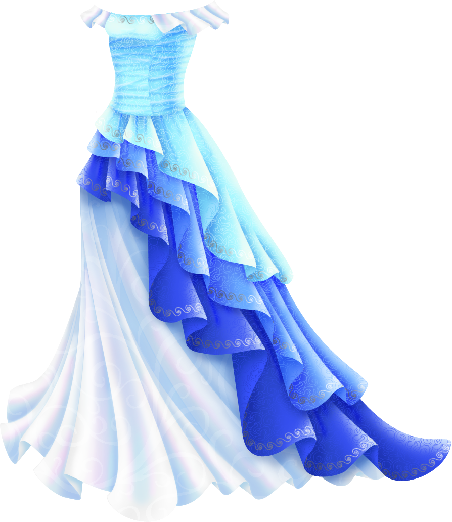 An off-the shoulder gown with a tight bodice and a trumpet-shaped skirt. There are pearly white ruffles over the shoulders, while the bodice is light blue with a small swirl pattern and a silver pattern at the neckline. The ruffled overskirt is in three layers, which start near the hip and get increasingly longer until they touch the ground on the other side of the dress. The top one is light blue, the middle one is a deeper blue and the bottom one is a darker purple-blue. They all have a silver swirl pattern on the edges. They're over a pearly white full skirt with a subtle swirl pattern in white on it.
