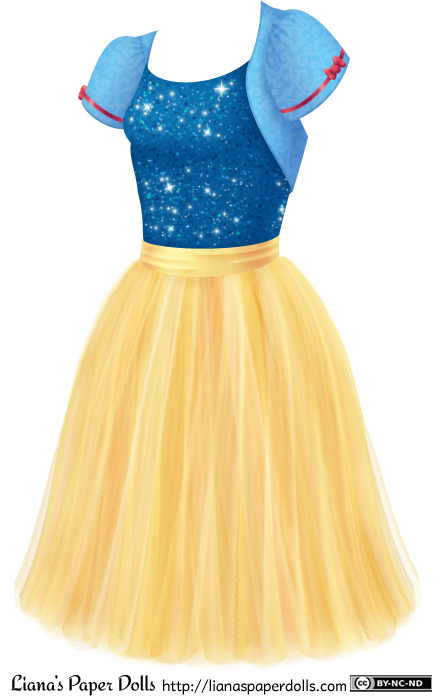 A shimmery dark blue camisole with a scoop neck tucked into a knee-length golden yellow tulle skirt. There's a light blue bolero jacket over the shoulders with lightly puffed cap sleeves. Each sleeve is ringed with a red ribbon and a small red bow.