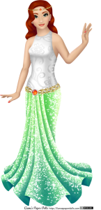 A pale-skinned adult woman doll. She has wavy red hair that falls partially over one eye, curved eyebrows, grey-green eyes and smokey eyeshadow. She has thin coral lips and small pearl earrings. She's wearing a sleeveless white top with a high scoop neck, patterned with swirls and flowers, and a long skirt that goes from light green to dark bluish-green and sparkles all over. It's gathered in front and fans out around the ankles, giving it a mermaid silhouette. There's a golden belt around the hips, accented with a orange gem ringed with pearls, and she wears a golden circlet decorated with golden beads, pearls and a small orange gem.