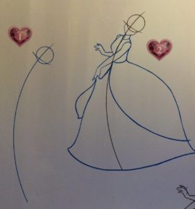 Step 1: A circle for the head and a long curved line indicating the way the body will move. Step 2: A simplified body and large bell-shaped skirt drawn over the previous image.