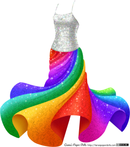 A silvery white spaghetti strap top with sequins all over it over a ankle-length full skirt. The skirt is swirling around, making the hem rise several inches above the ground. The skirt is done in bright rainbow colors and has a swirl and leaf pattern as well as a slight sparkle.
